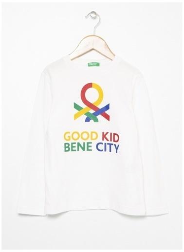 Benetton Benetton Yazılı Krem Erkek Çocuk T-Shirt Krem
